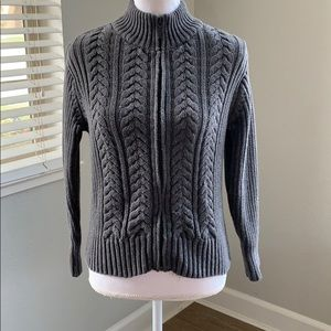 Talbots Zip Up Cable Knit Sweater